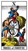 Wheel of Fortune Tarot card in Swiss (1JJ) Tarot deck