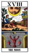 The Moon Tarot card in Swiss (1JJ) deck