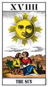 The Sun Tarot card in Swiss (1JJ) Tarot deck