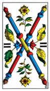 Two of Wands Tarot card in Swiss (1JJ) Tarot deck