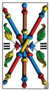Three of Wands Tarot card in Swiss (1JJ) deck