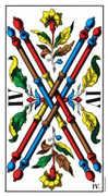 Four of Wands Tarot card in Swiss (1JJ) Tarot deck