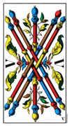 Five of Wands Tarot card in Swiss (1JJ) Tarot deck