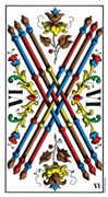 Six of Wands Tarot card in Swiss (1JJ) Tarot deck