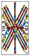 Seven of Wands Tarot card in Swiss (1JJ) Tarot deck