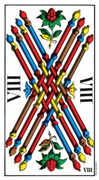 Eight of Wands Tarot card in Swiss (1JJ) Tarot deck