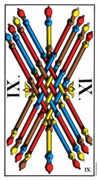 Nine of Wands Tarot card in Swiss (1JJ) Tarot deck