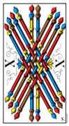 Ten of Wands Tarot card in Swiss (1JJ) Tarot deck