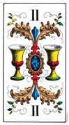 Two of Cups Tarot card in Swiss (1JJ) Tarot deck