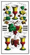 Three of Cups Tarot card in Swiss (1JJ) Tarot deck