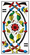 Two of Swords Tarot card in Swiss (1JJ) deck