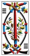 Three of Swords Tarot card in Swiss (1JJ) deck