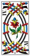 Four of Swords Tarot card in Swiss (1JJ) Tarot deck
