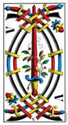 Five of Swords Tarot card in Swiss (1JJ) Tarot deck