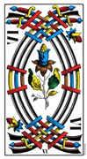 Six of Swords Tarot card in Swiss (1JJ) Tarot deck