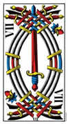 Seven of Swords Tarot card in Swiss (1JJ) Tarot deck
