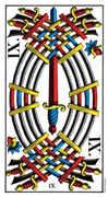 Nine of Swords Tarot card in Swiss (1JJ) deck