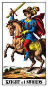 Knight of Swords Tarot card in Swiss (1JJ) Tarot deck