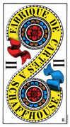 Two of Coins Tarot card in Swiss (1JJ) Tarot deck