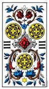 Three of Coins Tarot card in Swiss (1JJ) Tarot deck