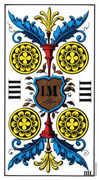Four of Coins Tarot card in Swiss (1JJ) Tarot deck