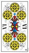 Six of Coins Tarot card in Swiss (1JJ) Tarot deck