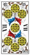Seven of Coins Tarot card in Swiss (1JJ) Tarot deck