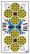 Eight of Coins Tarot card in Swiss (1JJ) Tarot deck