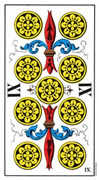 Nine of Coins Tarot card in Swiss (1JJ) Tarot deck