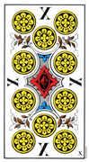 Ten of Coins Tarot card in Swiss (1JJ) Tarot deck
