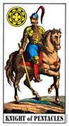 Knight of Coins Tarot card in Swiss (1JJ) Tarot deck