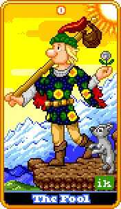 The Foolish Man Tarot Card - 8-Bit Tarot Deck