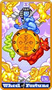 The Wheel of Fortune Tarot Card - 8-Bit Tarot Deck