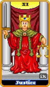 Justice Tarot Card - 8-Bit Tarot Deck