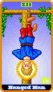 The Hanged Man Tarot Card - 8-Bit Tarot Deck
