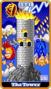 The Falling Tower Tarot Card - 8-Bit Tarot Deck