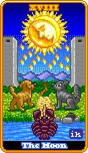 The Moon Tarot Card - 8-Bit Tarot Deck