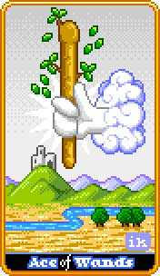 Ace of Rods Tarot Card - 8-Bit Tarot Deck