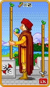 Two of Batons Tarot Card - 8-Bit Tarot Deck