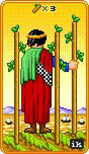 Three of Batons Tarot Card - 8-Bit Tarot Deck