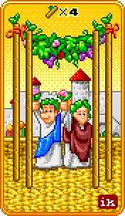 Four of Batons Tarot Card - 8-Bit Tarot Deck