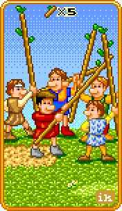 Five of Batons Tarot Card - 8-Bit Tarot Deck