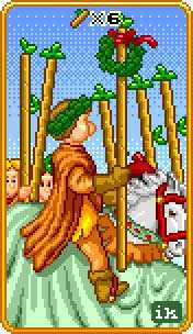 Six of Batons Tarot Card - 8-Bit Tarot Deck