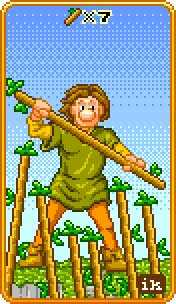 Seven of Staves Tarot Card - 8-Bit Tarot Deck