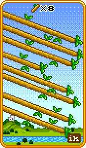 Eight of Staves Tarot Card - 8-Bit Tarot Deck