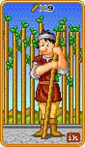 Nine of Fire Tarot Card - 8-Bit Tarot Deck