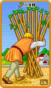 Ten of Wands Tarot Card - 8-Bit Tarot Deck