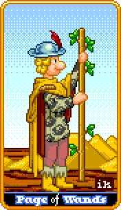 Page of Rods Tarot Card - 8-Bit Tarot Deck
