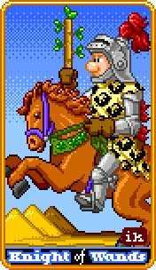 Knight of Rods Tarot Card - 8-Bit Tarot Deck