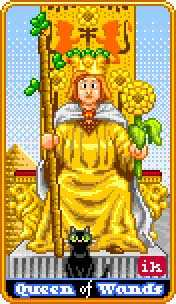 Queen of Rods Tarot Card - 8-Bit Tarot Deck